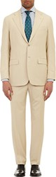 Kiton Twill Two Button Suit Brown