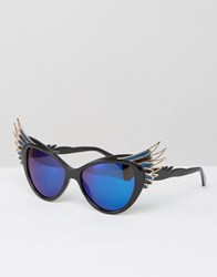 Jeepers Peepers Cat Eye Glasses With Wing Detail Black Silver