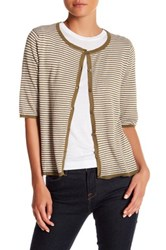 Kier And J Striped Button Up Cardigan Green