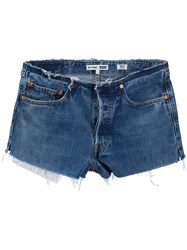 Re Done No Waist Mid Rise Shorts Blue