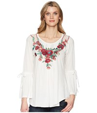 Scully Babe Soft Embroidered Bell Sleeve Tunic Ivory Clothing White