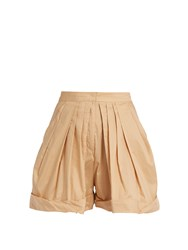 Vika Gazinskaya Pleated Front Cotton Shorts Beige