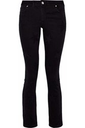 Zoe Karssen Piper Embroidered Mid Rise Skinny Jeans Black