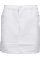J Brand Leila Distressed Denim Mini Skirt White