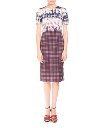Altuzarra Short Sleeve Bleached Plaid Dress Navy