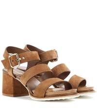 Tod's Suede Sandals Brown