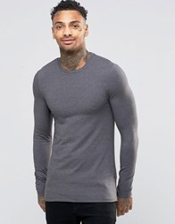 Asos Extreme Muscle Long Sleeve T Shirt With Crew Neck In Charcoal Charcoal Grey