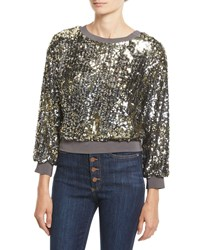 Alice Olivia Smith Embellished Ribbed Trim Cropped Sweatshirt Silver