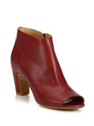 Maison Martin Margiela Leather Peep Toe Curved Heel Booties Burgundy