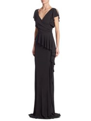 Rickie Freeman For Teri Jon Jersey Ruffled Peplum Gown Black