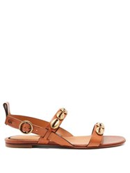 Etro Embellished Leather Sandals Tan