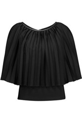 Halston Heritage Leather Trimmed Pleated Voile And Stretch Jersey Top Black