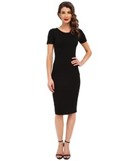 Unique Vintage Knit Bodycon Short Sleeve Mod Dress Black Women's Dress