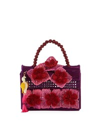 Mercedes Salazar Threaded Fabric Top Handle Bag Purple Red