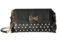 Betsey Johnson Flouncin' Around Flap Wallet On A String Black Dot Wallet Handbags