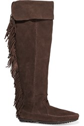 Maje Fringed Suede Knee Boots Dark Brown