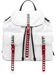 Prada Studded Detail Backpack White