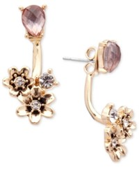 Lonna And Lilly Gold Tone Stone Flower Front Back Earrings