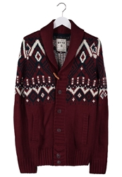 Tom Tailor Denim Jacquard Cardigan Red Grape Bordeaux