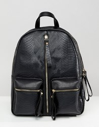 Liquorish Zip Front Backpack Black