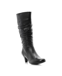 Dune Reta Rouched Dressy Calf Boots Black Leather