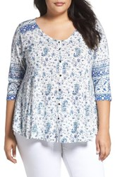 Lucky Brand Plus Size Women's Paisley Swing Top