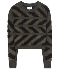 Public School Inlay Cross Knitted Chenille Sweater Green