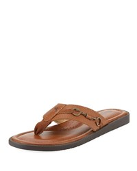 Tommy Bahama Belazzio Leather Flip Flop With Anchor Detail Light Brown