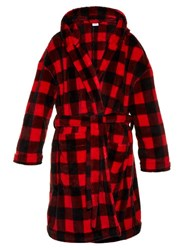 Vetements Checked Hooded Fleece Robe Coat Red Multi