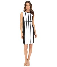 Calvin Klein Grid Pattern Sheath Dress Cd6x17l9 White Black Women's Dress