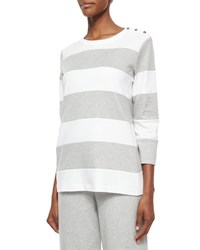 Joan Vass Striped Pullover Top Plus Size Heather Grey Wht