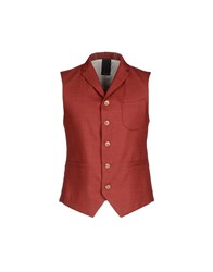 People Suits And Jackets Waistcoats Men Brick Red