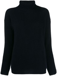 Liska Roll Neck Fitted Sweater Blue