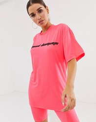 Criminal Damage Oversized T Shirt With Logo In Neon Pink