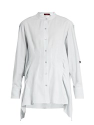 Sies Marjan Ruffled Cotton Seersucker Shirt Light Blue