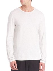 Vince Mix Stitched Polo T Shirt Heather White