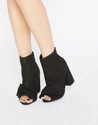 New Look Suede Open Toe Bow High Ankle Boot Black