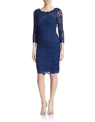 Cachet Three Quarter Sleeve Lace Sheath Dress Navy