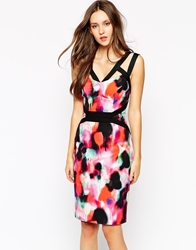 French Connection Pencil Dress In Miami Graffiti Print Multi