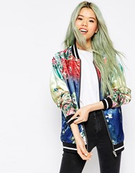 Asos Bomber Jacket With Ombre Print Detail Multi
