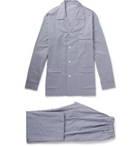 Anderson And Sheppard Gingham Brushed Cotton Pyjama Set Navy