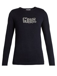 Bella Freud Her Wool Sweater Navy