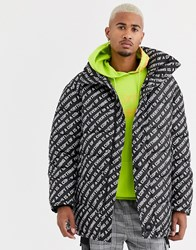 Sixth June Longline Puffer Jacket With All Over Logo Black