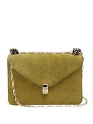 Valentino Panther Embellished Suede Shoulder Bag Khaki