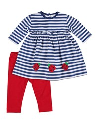 Florence Eiseman Striped Ladybug Dress W Bow Leggings Size 6 24 Months Blue White