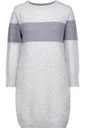 Duffy Striped Cashmere Sweater Dress Light Gray