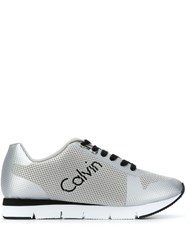 Calvin Klein Jeans Mesh Panel Running Sneakers Silver