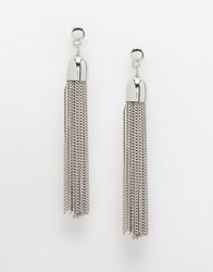 Warehouse Chain Tassle Earring Silver