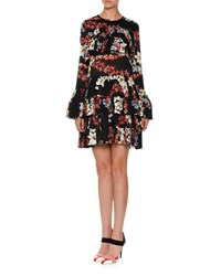 Msgm Long Sleeve Tiered Floral Silk Mini Dress Black Multicolor Black Pattern
