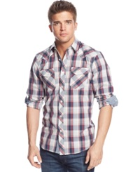 American Rag Western Plaid Long Sleeve Shirt Faded Red